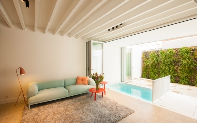 polished concrete, steelframe doors and wood